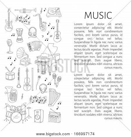 Music icon set vector illustrations hand drawn doodle. Musical instruments and symbols piano, guitar, drum set, gramophone, microphone, violin, trumpet, accordion, radio, saxophone