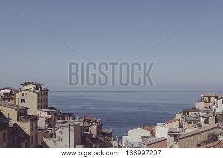 Vintage Cinque Terre View In Corniglia Town