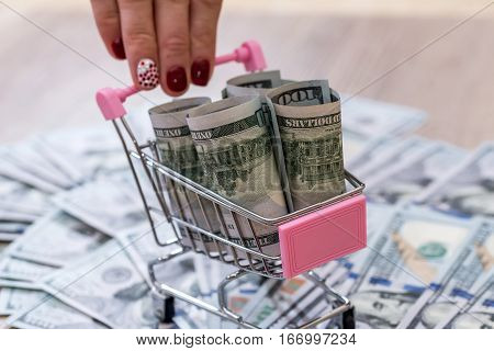 banknotes in the shoping cart. close up