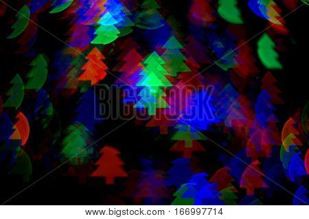 Christmas Tress bokeh effect background red green blue