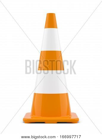 3D illustration of traffic cone. Isoalted on white