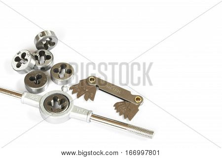 Professional mechanical hand tool set . Tap and die nuts for metal processing. poster