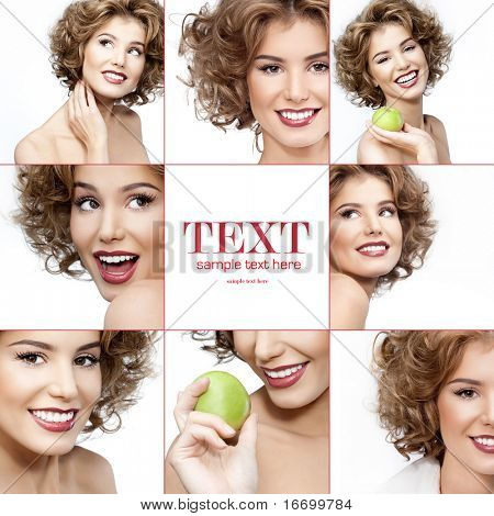 attractive smiling woman portrait on white background collage
