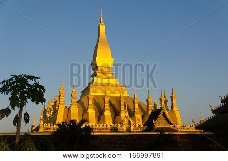 The golden temple and national landmark of Lao PDR