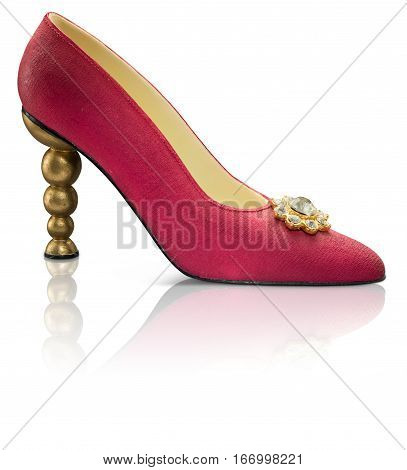 Collectable Miniature model red shoes with gold heel and reflection