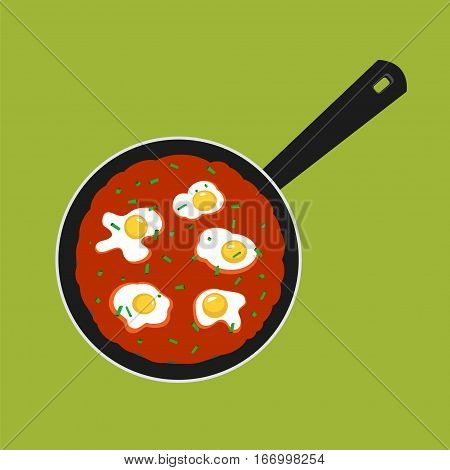 Vector Illustration of pan with Shakshouka. Breakfast with Sunny side up eggs and a sauce of tomatoes.