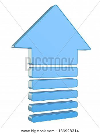 Blue Up Arrows isolated on white background. 3D Illustration