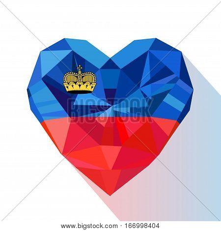 Vector crystal gem jewelry Liechtenstein's heart of the Principality of Liechtenstein. Flat style logo symbol of love Liechtenstein.