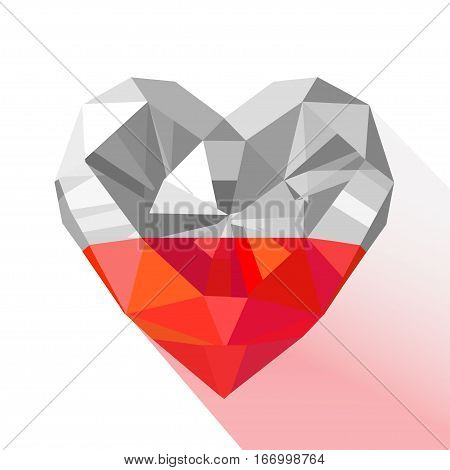 Vector crystal gem jewelry Polish heart with the flag of the Republic of Poland. Flat style logo symbol of love Poland. Europe. November 11 Independence Day