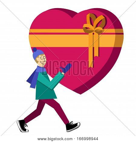 Flat vector Greeting Card illustration isolated on white background with guy buying presents heart-shaped gift box for Valentine's Day,  holidays or Birthday. Valentine's day sales shopping. Love gift