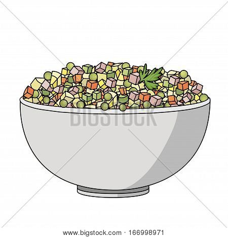 Flat vector illustration of Russian salad. Image of russian traditional new year's dish Olivier salad.