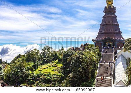 Twin Pagodas And Park At Doi Inthanon, Chiang Mai
