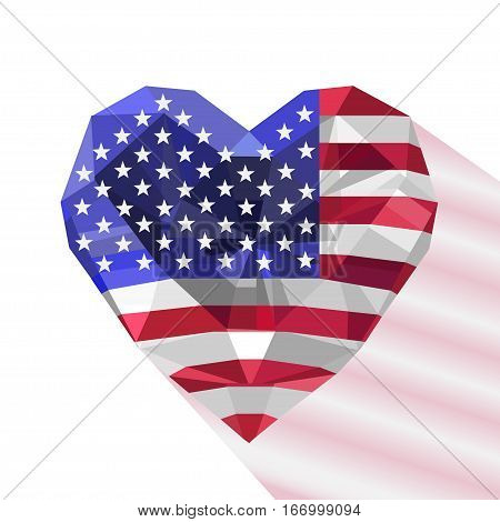 Vector crystal gem jewelry American heart with the flag of the The United States of America. Flat style logo symbol of love U.S. Independence Day. July Fourth.