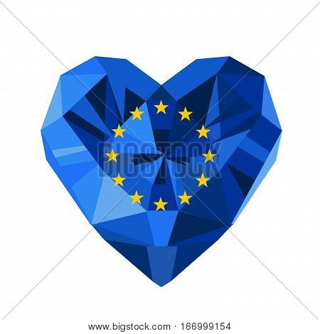 Vector crystal gem jewelry European heart with the flag of  the European Union. Flat style logo symbol of love EU. Council of Europe