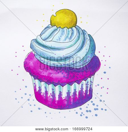 Cupcake drawing in fantasy style. Colorful marker muffin with cream top hand-drawn illustration. Pink cupcake with blue creme and gold topping. Cupcake in paper cup. Fantastic muffin artwork on white