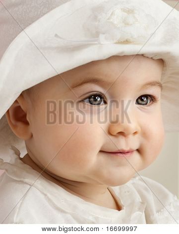 close up portrait of little child baby