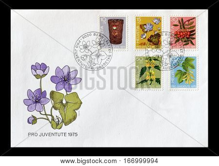 SWITZERLAND - CIRCA 1975 : Cancelled First day cover letter printed by Switzerland, that shows Flora.