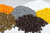 Plastic pellets. Colorant for plastics. Pigment in the granules.Polymeric dye. poster