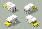 Vector isometric icon of camper. Isolated on a green background poster