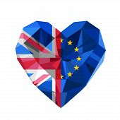 Vector Brexit illustration. Crystal jewelry European and British heart with the flag of  the European Union and United Kingdom. Flat style logo symbol of love European Union and the Great Britain. EU. GB. poster