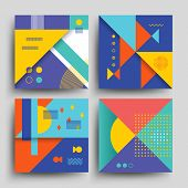 Minimal 2d design, model vector covers, placards, posters, flyers and banners in retro 80s-90s style. Card with vintage colored pattern, card flyer with trendy 90s style vintage illustration poster