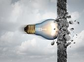 Power of ideas and unlimited creative strength as a light bulb breaking through a cement wall as a creativity force metaphor or business concept for thinking innovation with 3D illustration elements. poster