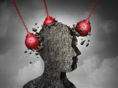 Painful Headache pain and pounding migraine concept as a human head made of cement being destroyed or renovated by a group of wrecking ball objects as a symbol for personal change as a 3D illustration. poster