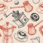 Coffee pot coffee grinder coffee cups donuts Turkish ibrik jug of milk. Seamless vector pattern. Art illustration. Vintage background. Kitchen design for textiles paper packaging wrapping. poster