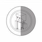 silhouette sticker lego with portrait male nurse vector illustration poster