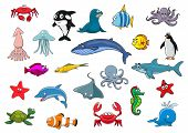 Sea fish and ocean animals icons. Vector isolated cartoon lobster crab, squid and jellyfish, seal, dolphin and shark whale, clown fish or flounder and tropical butterflyfish, starfish and seahorse, octopus, stingray, penguin and turtle poster
