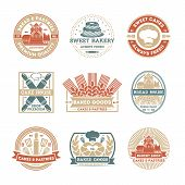 Bakery shop vintage isolated label set. Bread and cake house symbols. Sweet bakery icon. Premium quality, always fresh product. Cakes and pastries logo. Baked goods. Rolling pin, cook cap, mill sign. Bakery logo template. Bakery shop icon collection. Bake poster