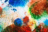 Macro shot of abstract vibrant acrylic art background. Multicolor light and bright texture. Fragment of artwork. Spots of acrylic paint. Modern contemporary art. poster
