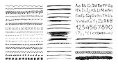 Set of hand drawn line borders, scribble strokes, hand written font and design elements isolated on white. Doodle style brushes. Monochrome vector eps8 illustration. poster