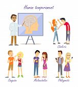 Human temperament personality types. Scientific approach. Sanguine optimistic social, choleric short-tempered or irritable, melancholic analytical and quiet, phlegmatic relaxed and peaceful. Vector. poster