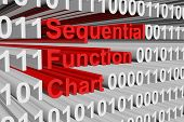Sequential Function Chart in the form binary code 3D illustration poster