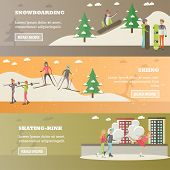 Vector set of winter sports and recreation concept horizontal banners. Snowboarding, Skiing, Skating-rink design elements in flat style. poster