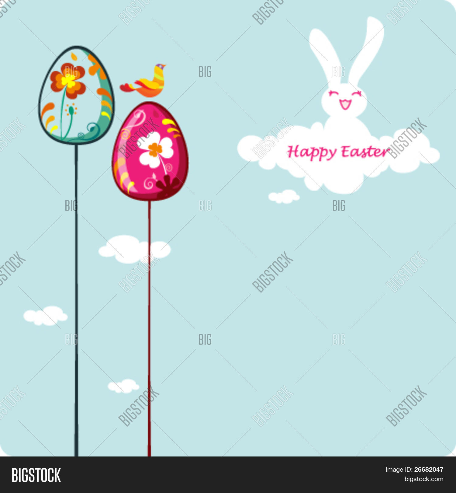 Easter Card Template Vector Photo Free Trial Bigstock