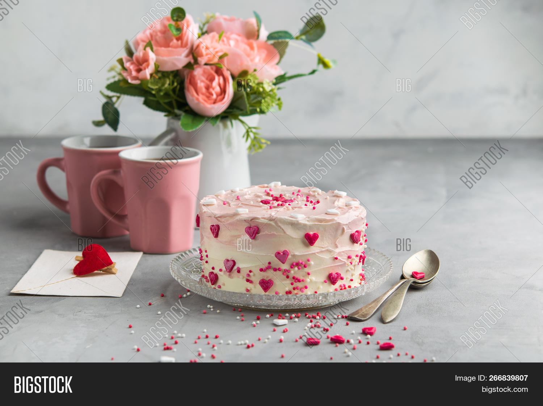 Enjoyable Cake Small Hearts Image Photo Free Trial Bigstock Funny Birthday Cards Online Elaedamsfinfo