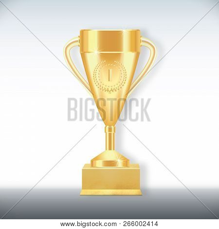 Golden Realistic Trophy Cup With Number One, Srats And Laurel Wreath On Textured Gilded Stand Isolat