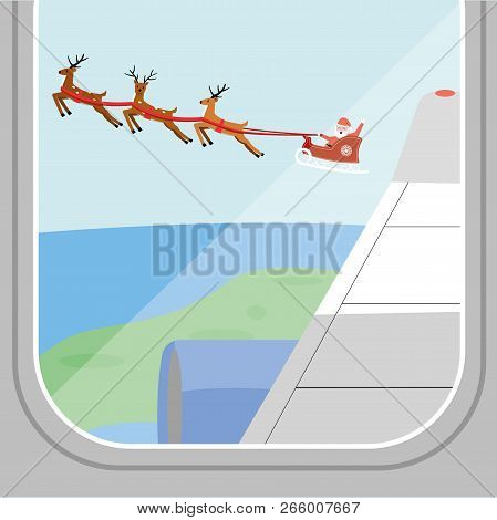 Santa Claus Is Flying In A Sleigh With Reindeer Above The Ground Next To The Plane Across The Sky