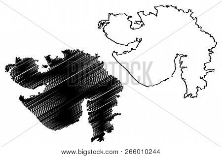 Gujarat (states And Union Territories Of India, Federated States, Republic Of India) Map Vector Illu