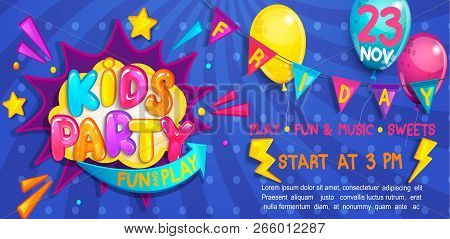 Wide Cute Kids Party Banner In Cartoon Style With Balloons, Flags And Boom Frame.birthday Party, Pla