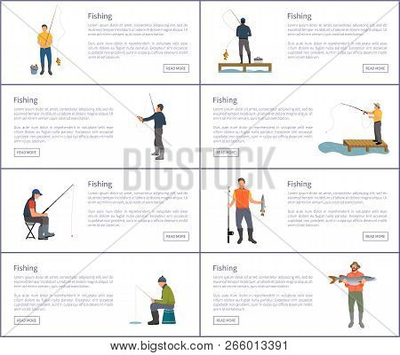Fishing Hobby And Sport Posters Set With Text Sample. Man With Rod And Bucket Wearing Waders Boots.