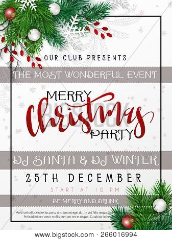Vector Illustration Of Christmas Party Poster Template With Hand Lettering Label - Merry Christmas -