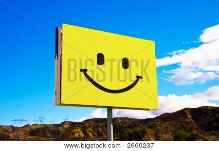 Yellow Roadside Smile Billboard