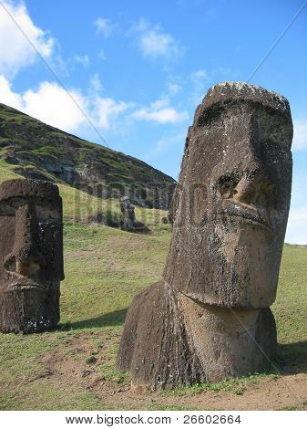 Moais on the slope of Rano Raraku volcano, Easter Island