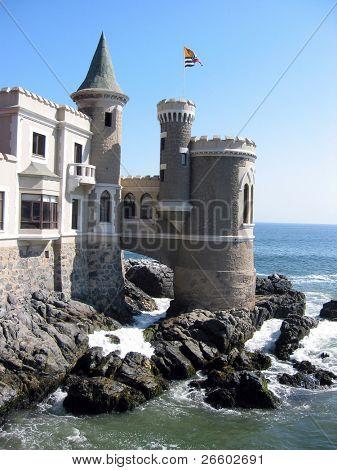 Fairy castle at the shore of Pacific ocean. Vina del Mar, Chile