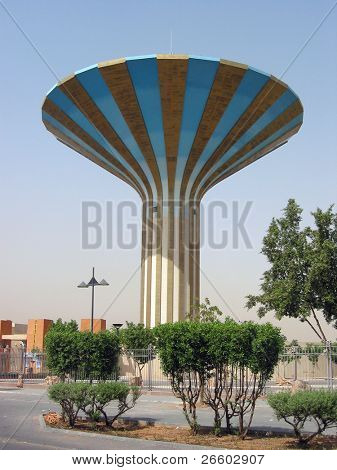 Striped water tower in Er Riyadh, Saudi Arabia