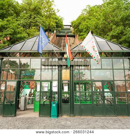Budapest Castle Hill Funicular. Hungary. The Building Of The Funicular. Facade