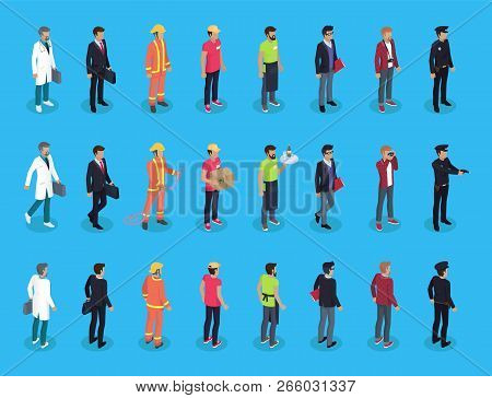 People Professions Characters Isometric, Vector Men In Varied Clothing, Doctor Policeman And Fireman